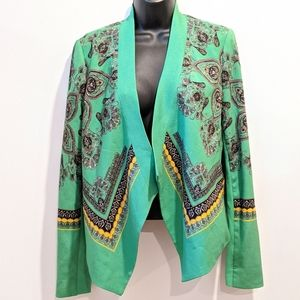 BCBG MAX AZRIA Green waterfall cropped blazer XXS